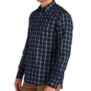 Theory Barham Plaid Navy Green Button Down Shirt